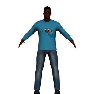 3D adult black man