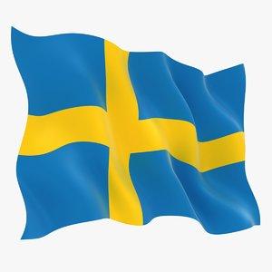 realistic sweden flag 3D model