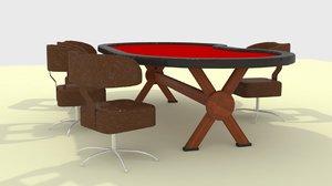 poker table 3D model