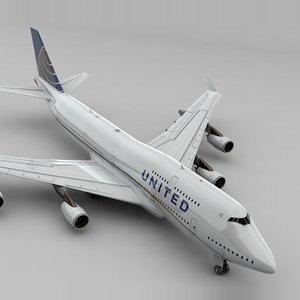 boeing 747 united airlines 3D model