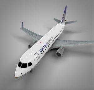 united express embraer175 l522 3D model