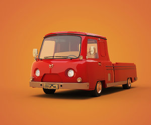 3D cartoon car pickup model