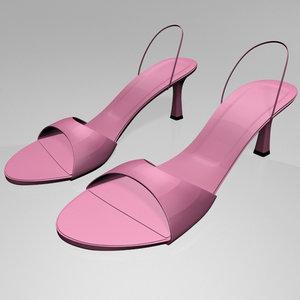 stylish spool-heel slingback sandals 3D model