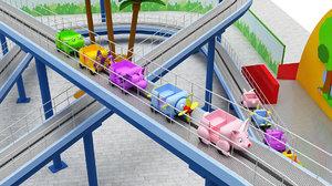 3D model mini roller coaster