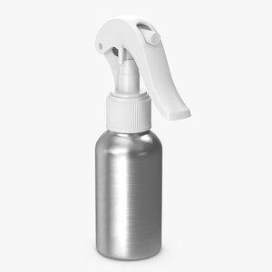 3D spray bottle aluminum white