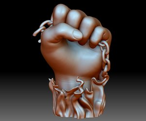 BLM sign hand logo fist STL file 3D printable model Black Lives