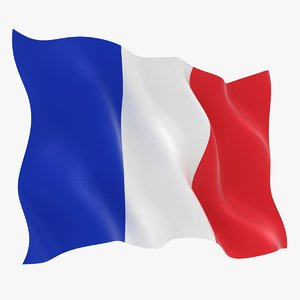 realistic france flag 3D