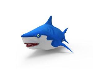 3D cartoon shark pack model