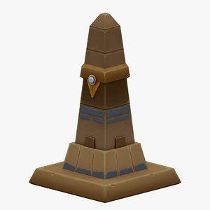 3D egyptian pillar handpaint gameready model