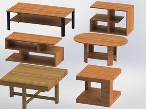 3D wood coffee table model