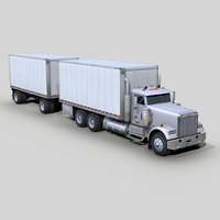 Freightliner FLD 120 Box truck and trailer