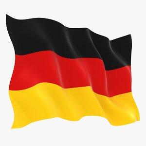 3D model realistic germany flag