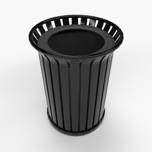 metallic trash bin 3D model