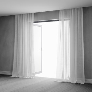 3D sheer curtains interior animation