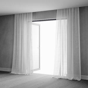 3D sheer curtains interior animation