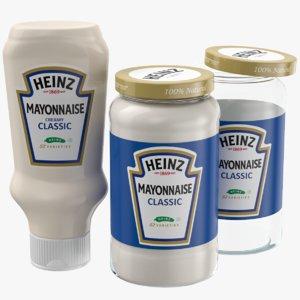 3D mayonnaise set jar model
