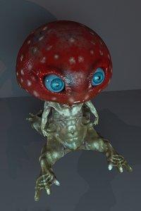 3D model mushroom man monster creature