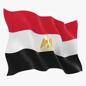 realistic egypt flag 3D