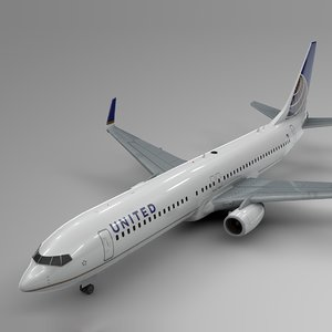 3D united airlines boeing 737-800 model