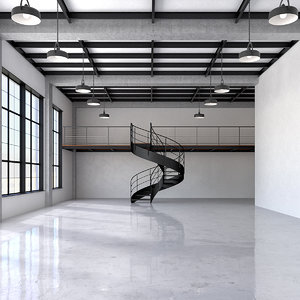 3D industrial office loft space