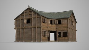 3D l-shaped double-storeyed inn model