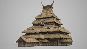 3D ancient barbarian thatched