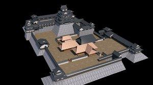 3D restore castle fukuoka model