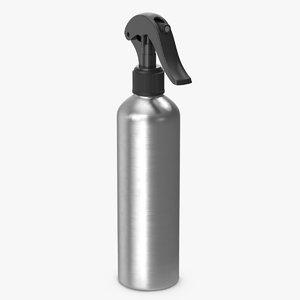 3D model spray bottle aluminum black