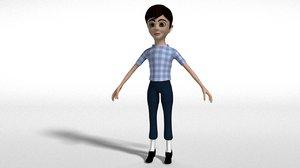 cartoonist woman character ch 3D model