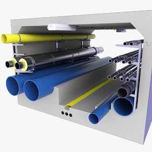 tunnel pipes technical diagram 3D model