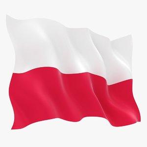 realistic poland flag 3D
