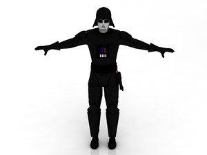 3D black character darth vader