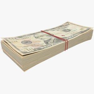 3D dollars bills banknotes model