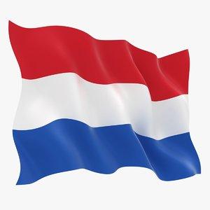 realistic netherlands flag 3D model