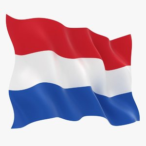 3D netherlands flag animation model