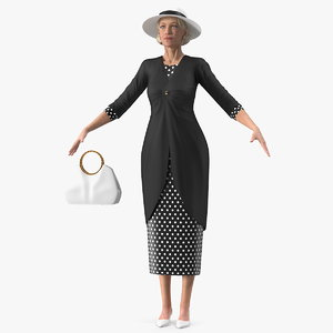 3D elderly woman wearing party model