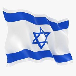 realistic israel flag 3D