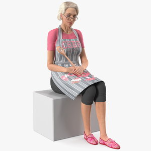 old lady wearing apron 3D