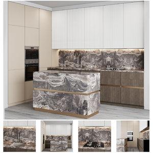 modern kitchen minimalistic facades 3D model