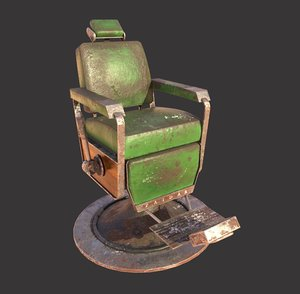 dirty barber chair 3D model