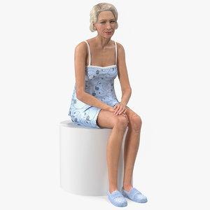 elderly woman sleepwear siting 3D model