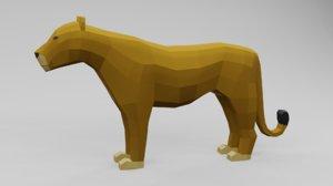 lion low-poly 3D