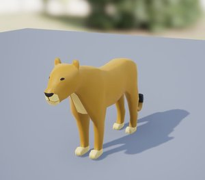 rigged female lion 3D model