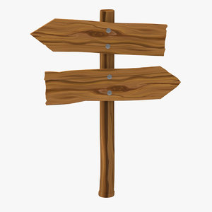 3D wooden arrow sign model