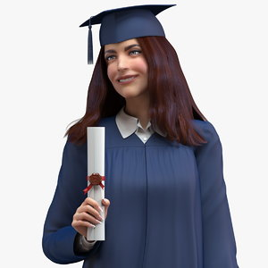 graduate student holding certificate 3D model
