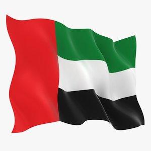 united arab emirates flag 3D model