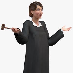 3D female magistrate holding gavel model
