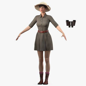 female zookeeper t pose 3D model