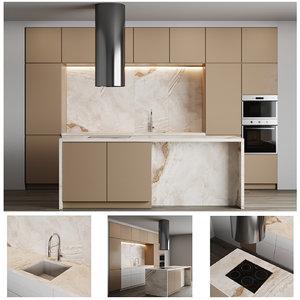 3D modern kitchen island stone