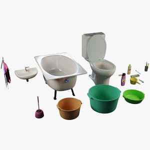 bathroom bath toilet sink 3D